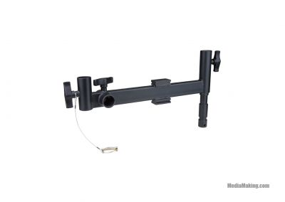 Adjustable offset arm for a Panel LED light and a ballast with a safety wire